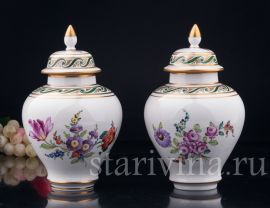 Парные вазы с крышками, Carl Thieme, Potschappel, Германия, вт. пол. 20 в