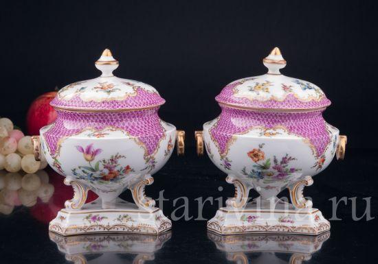 Изображение Парные вазы с крышками, Дрезден, Германия, 19 в