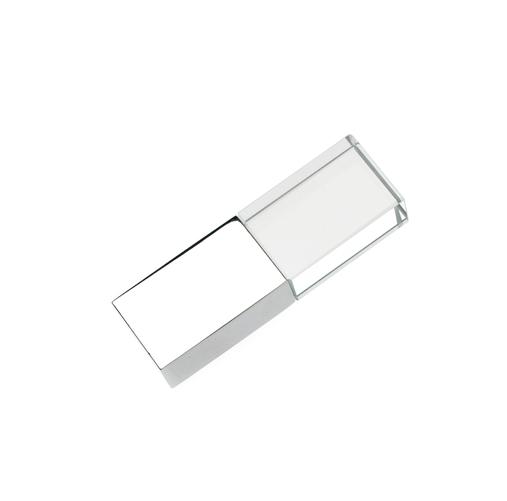 16GB USB-флэш накопитель Apexto UG-002 стеклянный, глянцевый метал, белый LED