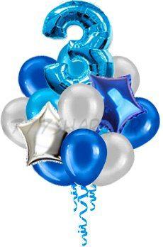 Букет шаров для мальчика 15 шт с 1 цифрой 91 см