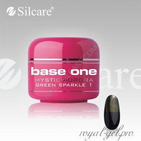 Цветной гель Silcare Base One Mystic Aurora Green Sparkle *01 5 гр.
