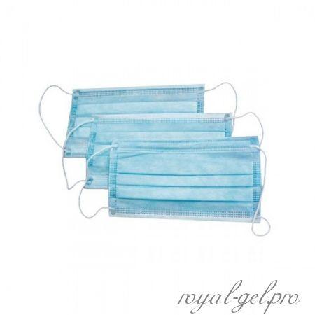 Маска трехслойная на резинке (цвет голубой)