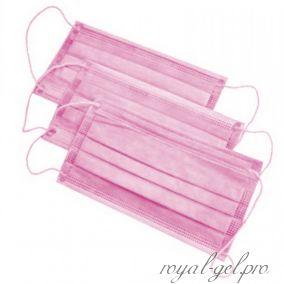 Маска трехслойная на резинке (цвет розовый)