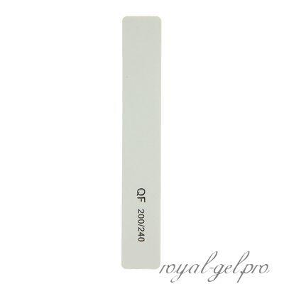 Пилка наждачная для ногтей QF прямоугольная 200/240  белая