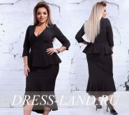 Черное платье с баской