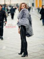 Большой меховой палантин из чернобурки купить фото аксессуар