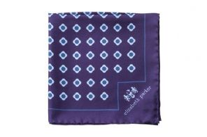 Английский нагрудный платок Блу  Дэйзи Ду  BLUE DAISY DO SILK POCKET SQUARE