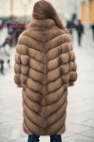 Длинная шуба из темной куницы купить пошить от бренда Италия фото