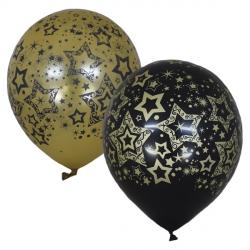 Черно-золотые голливудские звезды латексные шары с гелием