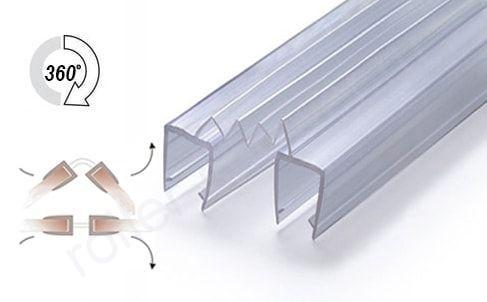 Уплотнитель для стыковки стекол (Гармошка) для стекла 8-8 мм. Длина 2,3 метра