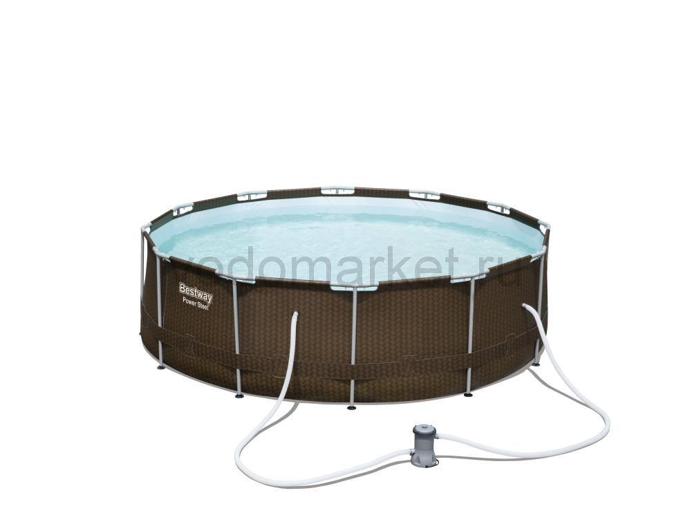 366x100см (56594) Bestway каркасный бассейн Steel Pro Ротанг
