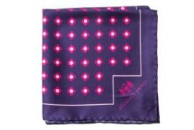 Английский нагрудный платок Пинк Дэйзи Ду  PINK DAISY DO SILK POCKET SQUARE