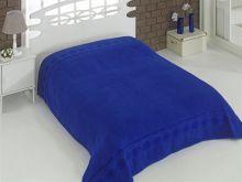 """Простыня махровая """"KARNA"""" REBEKA 160x220 см (синяя) Арт.2654-15"""