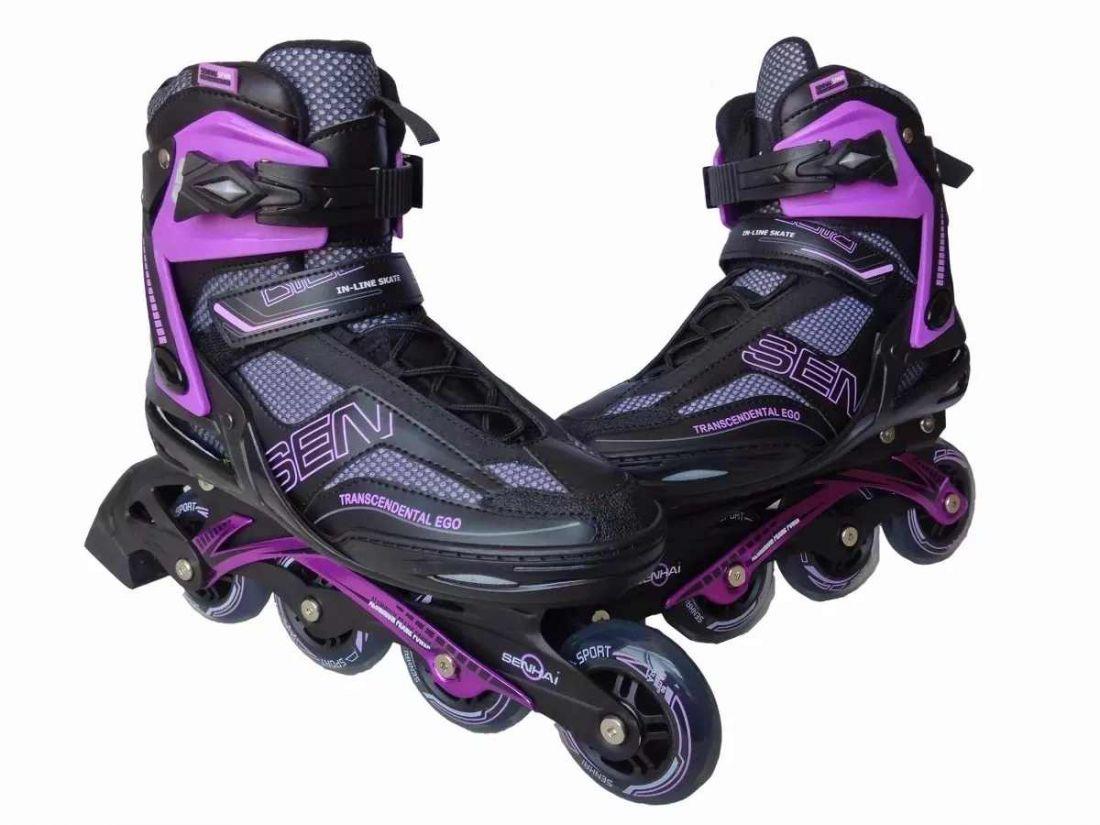 Роликовые коньки Senhai PW-150G черные/фиолетовые