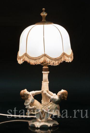 Изображение Играющие дети, лампа, Karl Ens, Германия, 1920-30 гг
