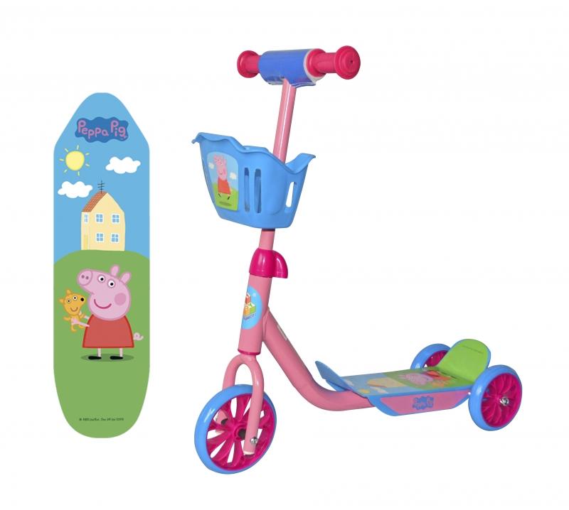 "Самокат трёхколёсный 1TOY ""Peppa Pig"", корзинка"