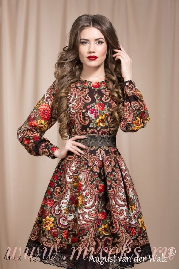 Платье из павловопосадского платка
