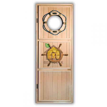 """Дверь из липы """"Штурвал"""" для бани"""