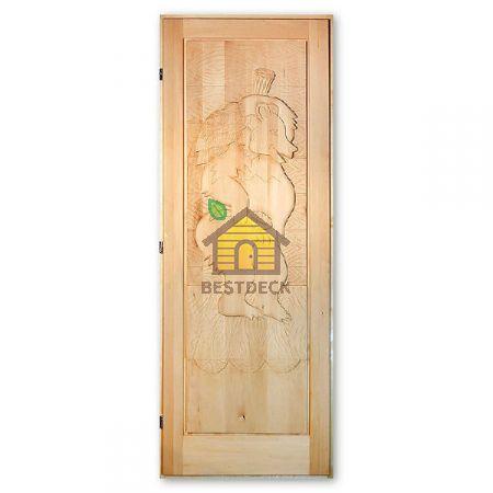 Дверь из липы для бани резная ДР-5