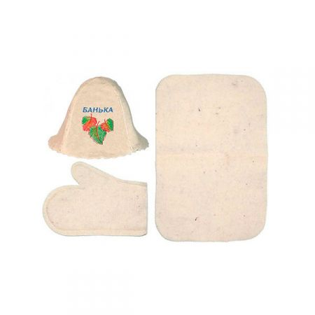 Банный набор из 3-х предметов (шапка, коврик, рукавица) в ассортименте