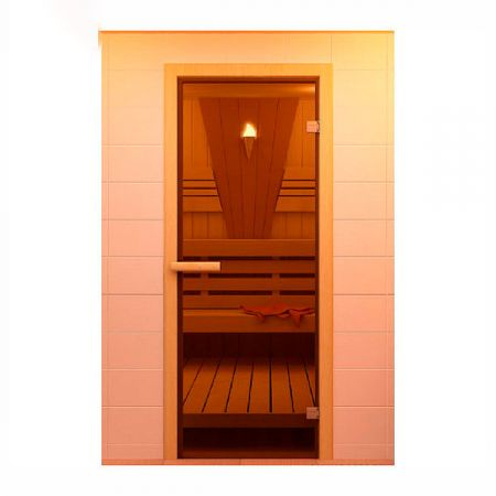 Дверь стеклянная для сауны ALDO, стекло бронзовое