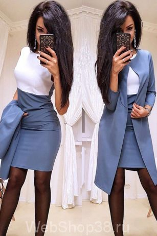 Крутой костюм платье и пиджак цвет серо-голубой