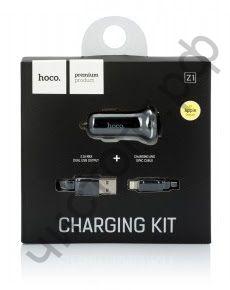 АЗУ 2 USB HOCO, Z1, 2100mA, пластик, с кабелем Apple 8 pin, цвет: чёрный