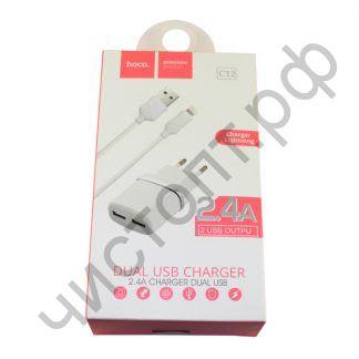 СЗУ 2 USB HOCO, C12, 2400mA, пластик, с кабелем Apple 8 pin, цвет: белый
