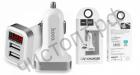АЗУ с 2 USB выходами HOCO, Z3, 3100mA, пластик, с дисплеем, цвет: белый