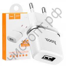 СЗУ HOCO C11 с 1 USB выходом 1000mA, пластик, цвет: белый