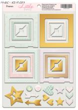 """Рамки из чипборда с фольгированием (золото) для скрапбукинга 30шт """"Little Bunny"""""""