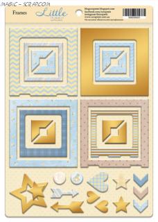 """Рамки из чипборда с фольгированием (золото) для скрапбукинга 30шт от Scrapmir """"Little Bear"""""""