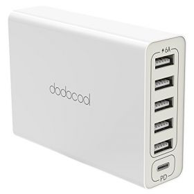Адаптер Dodocool 6 в1 (USB-C +5USB +PD) 60W