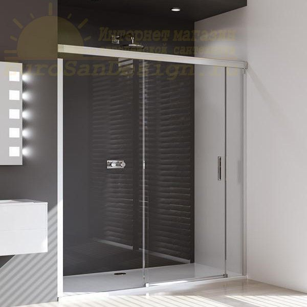 Huppe Design pure Раздвижная душевая дверь с неподвижным сегментом и доп. элементом крепление слева 8P03 ФОТО