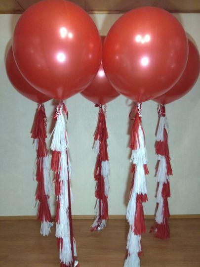 Красный металлик большой шар латексный с гелием