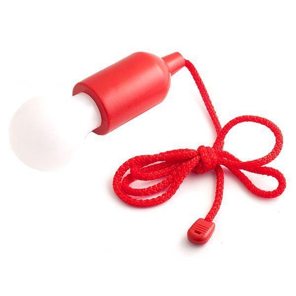Светильник Лампочка на веревке красная