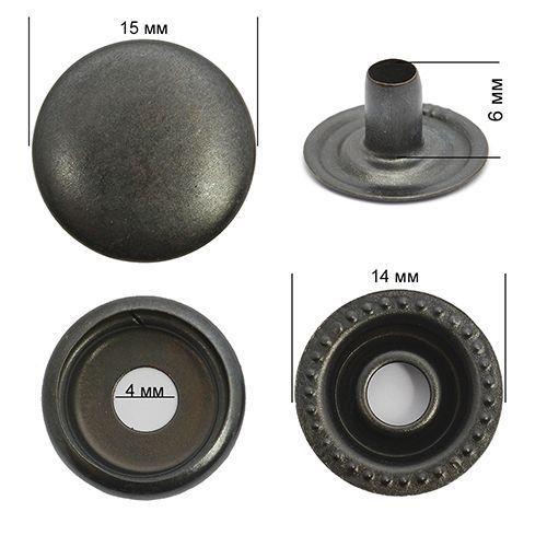 Кнопка №61 Оксид 15мм сталь NewStar