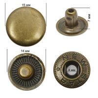 Кнопка стальная Alpha 15мм цв. антик  NewStar