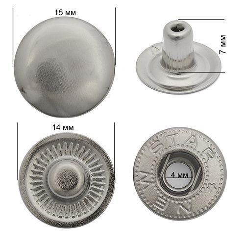 Кнопка стальная Alpha 15мм цв.тёмный никель NewStar