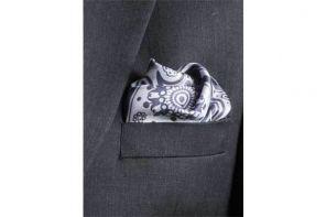 Английский нагрудный платок Серый Пейсли  GREY PAISLEY SWIRL  SILK POCKET SQUARE