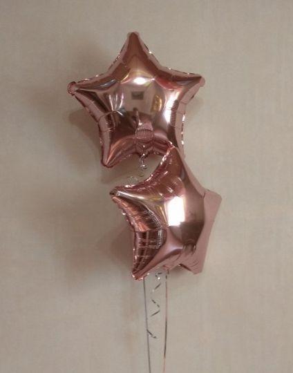 Звезда розовое золото шар фольгированный с гелием