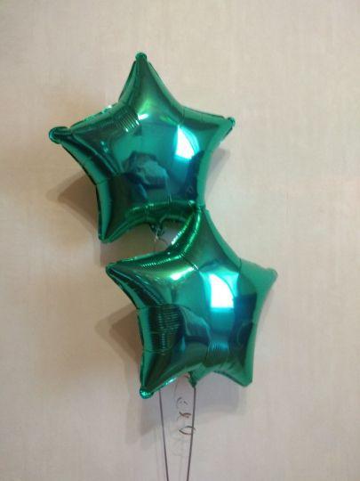 Звезда бирюзовая шар фольгированный с гелием