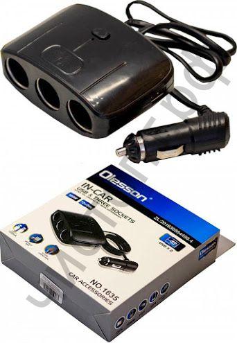 Разветвитель прикуривателя OLESSON 1635 (3 гнезда+2*USB)/120