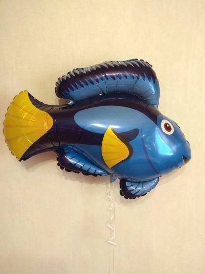 Рыбка синяя фольгированный шар с гелием