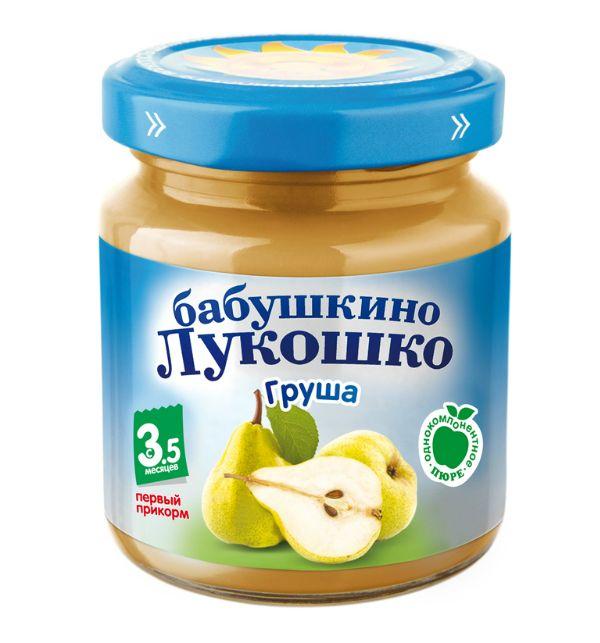 Бабушкино лукошко Пюре Груша, яблоко с 5 мес., 100 г
