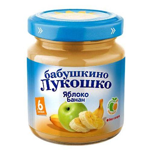 Бабушкино лукошко Пюре Яблоко, банан с 6 мес., 100 г
