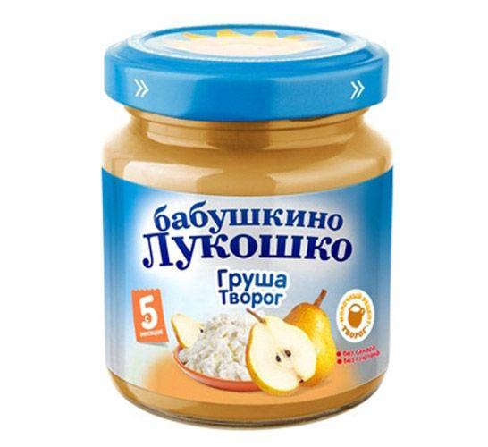 Бабушкино лукошко Пюре Груша с творогом с 5 мес., 100 г