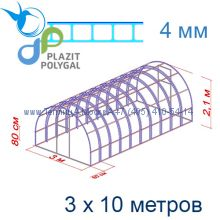 Теплица Богатырь Люкс 3 х 10 с поликарбонатом 4 мм Polygal