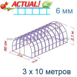 Теплица Богатырь Люкс 3 х 10 с поликарбонатом 6 мм Актуаль BIO