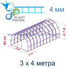 Теплица Богатырь Люкс 3 х 4 с поликарбонатом 4 мм Polygal